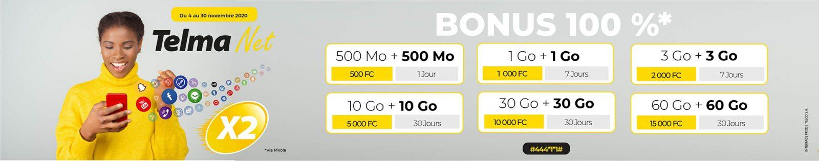 Telma Net 100% Bonus